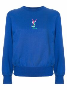 Yves Saint Laurent Pre-Owned embroidered logo sweatshirt - Blue