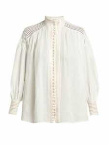 Zimmermann - Corsage Lace Insert Ramie Blouse - Womens - Ivory