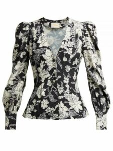 La Doublej - Smokin' Hot Lilium Nero Print Crepe Blouse - Womens - Black Print