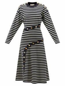 Adriana Degreas - Silk Crepe De Chine Fig-print Dress - Womens - Purple Print