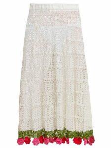 My Beachy Side - Carmen Crocheted-cotton Midi Skirt - Womens - White Multi