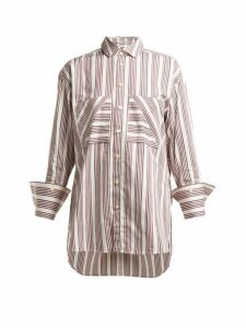 Palmer//harding - Boyfriend Striped Cotton-poplin Shirt - Womens - Red White
