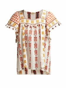 Dodo Bar Or - Teresa Geometric Embroidered Cotton Top - Womens - Tan Multi