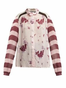 Preen Line - Grace Panelled Chiffon Blouse - Womens - Pink Multi