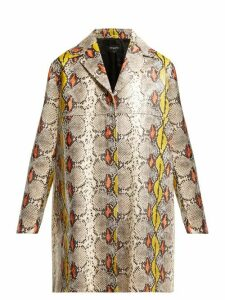 Rochas - Single Breasted Python Effect Leather Coat - Womens - Multi