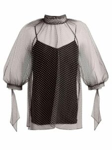 Erdem - Nayla Polka Dot Tulle Blouse - Womens - Black White