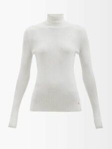 Giambattista Valli - Polka Dot Print Silk Chiffon Dress - Womens - Black White