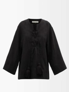Gucci - Floral Jacquard Cotton Blend Trousers - Womens - Navy Multi
