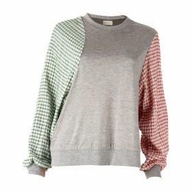 DANEH - Gingham Sleeve Sweatshirt