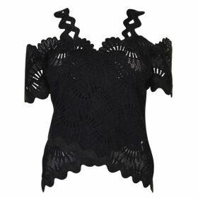 Three Floor Lace Top - Black