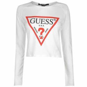 Guess Cropped Logo Long Sleeve T Shirt - White