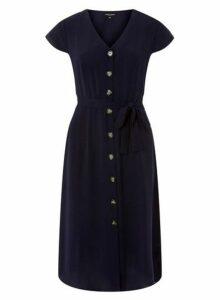 Womens Navy Horn Effect Button Midi Shirt Dress - Blue, Blue