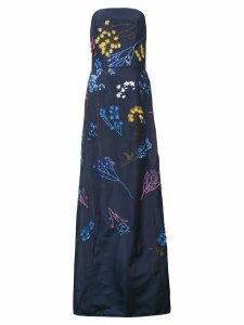 Carolina Herrera strapless A-line floral dress - Blue