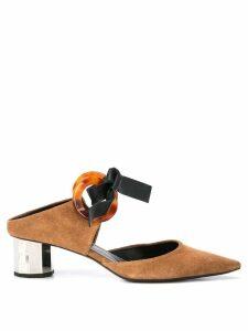 Proenza Schouler Tortoise Grommet Block Heel Mules - Metallic