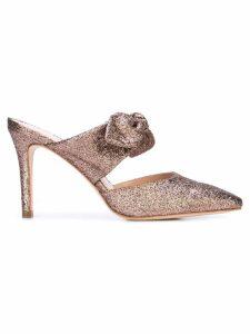 Loeffler Randall bow detail glitter mules - Metallic