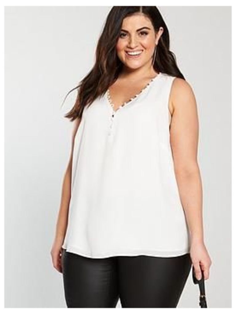 V by Very Curve Button Detail Cami Top - Ivory , Ivory, Size 28, Women