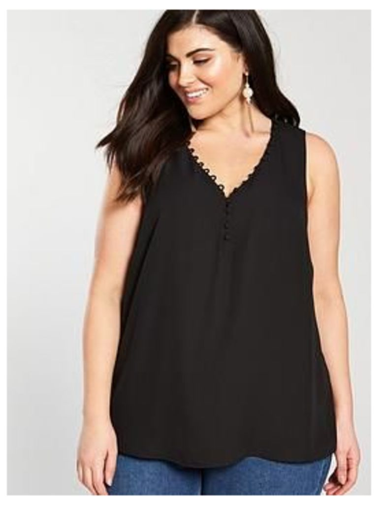 V by Very Curve Button Detail Cami Top - Black , Black, Size 28, Women