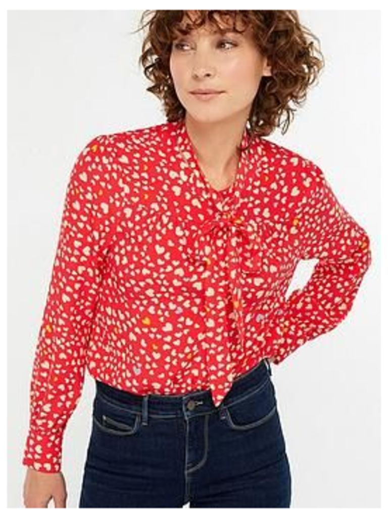 Monsoon Simone Heart Print Blouse - Red , Red, Size 22, Women