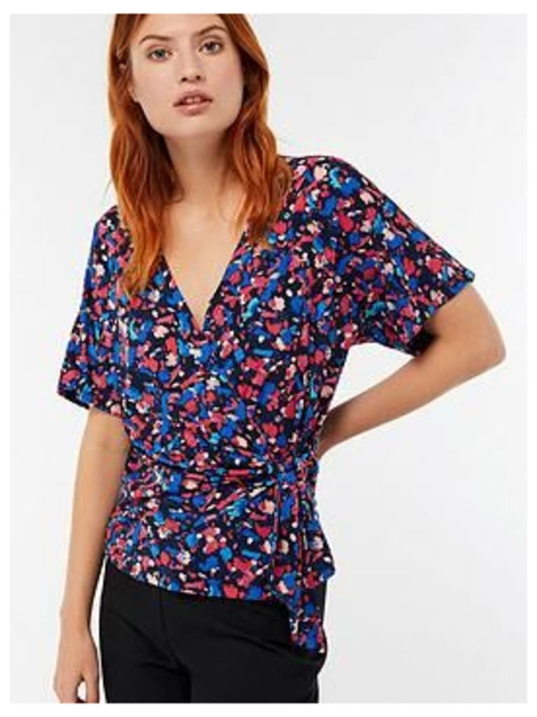 Monsoon Betty Printed Wrap Top, Navy, Size 22, Women