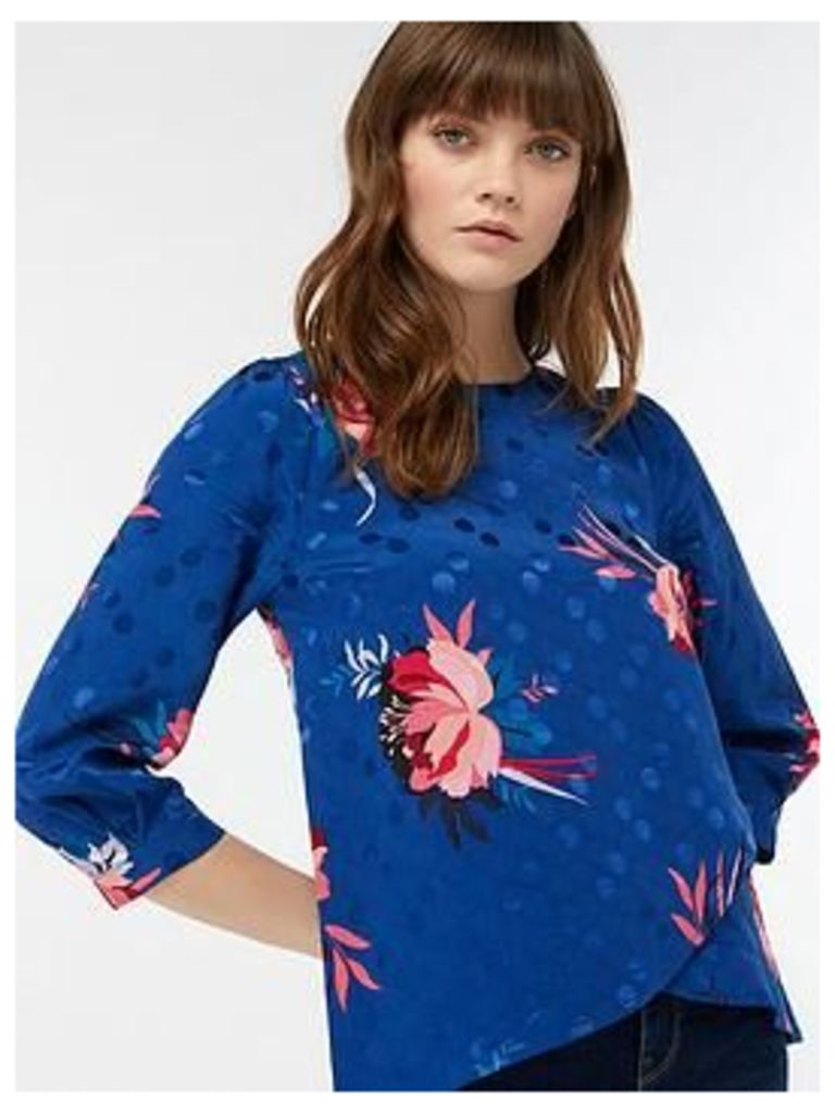 Monsoon Janice Floral Print Top, Navy, Size 22, Women