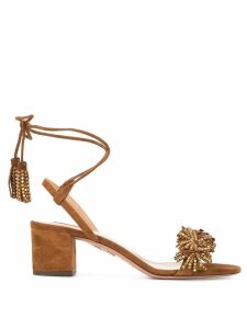 Aquazzura crystal anke strap sandals - Brown