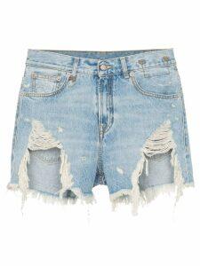 R13 Tilly shredded slouch denim shorts - Blue