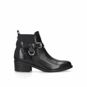 Carvela Saddle - Black Leather Western Ankle Boots