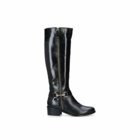 Carvela Waffle - Black Low Heel Knee Boots