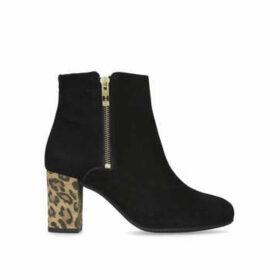 Carvela Comfort Rail - Black Suede Ankle Boot With Leopard Heel