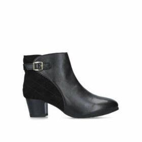 Carvela Comfort Rule - Black Leather Block Heeled Ankle Boots