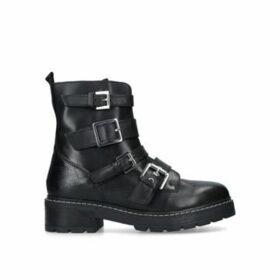 Carvela Sprint - Black Leather Buckle Biker Boots