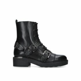 Carvela Stalwart - Black Leather Lace Up Biker Boots