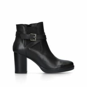 Carvela Silver - Black Leather Block Heel Ankle Boots