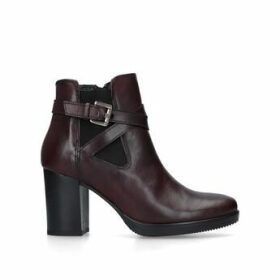 Carvela Silver - Wine Leather Block Heel Ankle Boots