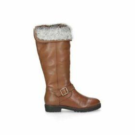 Carvela Samba - Tan Leather Flat Knee Boots
