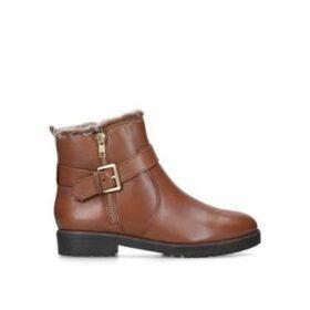 Carvela Scout - Tan Leather Faux Fur Hiker Boots