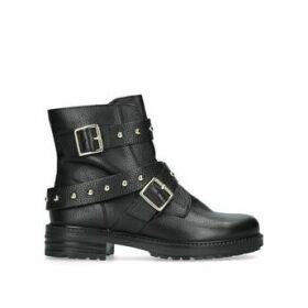 Kurt Geiger London Stinger - Black Studded Biker Boots