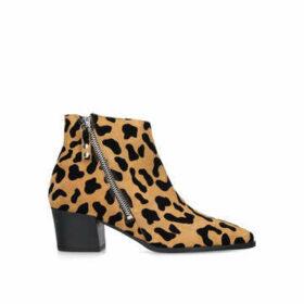 Carvela Sacriledge - Leopard Print Suede Block Heel Ankle Boots