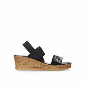 Carvela Comfort Summer - Black Wedge Embellished Sandals