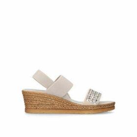 Carvela Comfort Summer - Taupe Embellished Wedge Sandals