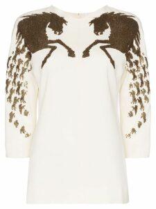 Chloé sequin embellished horse motif silk blend blouse - White