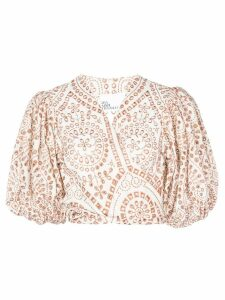 Lisa Marie Fernandez broderie anglaise crop top - White