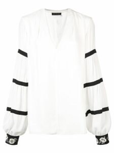 Josie Natori v-neck blouse - White