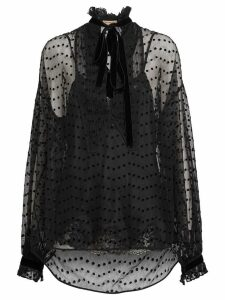 Burberry Polka-dot Flock Tulle Tie-neck Blouse - Black
