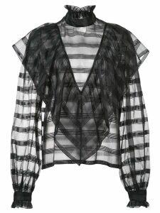 Jill Stuart sheer stripe blouse - Black