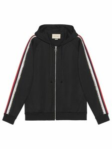Gucci crystal-embellished zipped hoodie - Black