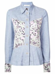 Jill Stuart floral panel denim shirt - Blue