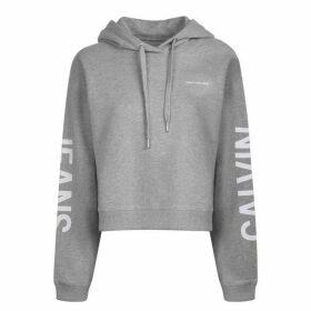 Calvin Klein Jeans Logo Cropped Hooded Sweatshirt