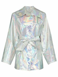 Kassl belted hologram trench coat - Metallic