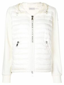 Moncler padded front zipped hoodie - White